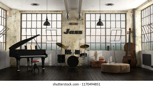 Grand piano,drums and double bass in a loft - 3d rendering
