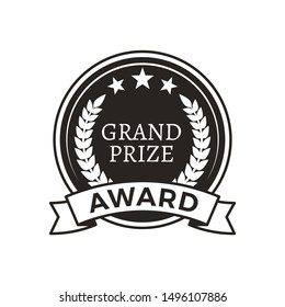 Grand prize award monochrome round promo logotype. Medal for outstanding achievements with stars and laurel branches isolated raster illustration.