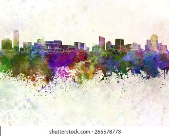 Grand Rapids skyline in watercolor background