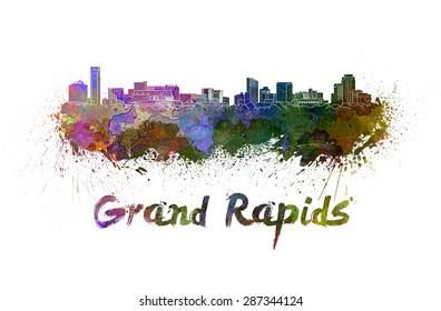Grand Rapids skyline in watercolor splatters with clipping path