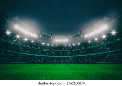 Grand stadium full of spectators expecting an evening match on the green grass field. Sport building 3D professional background illustration.