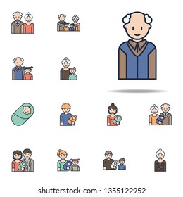 granddad cartoon icon. Family icons universal set for web and mobile