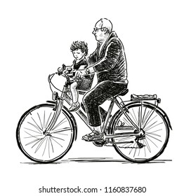 A grandfather with his grandson rides on a bicycle