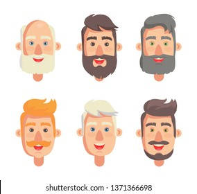 Grandfathers face collection grandparent with beard and moustache head set having smiling positive expression isolated on raster illustration
