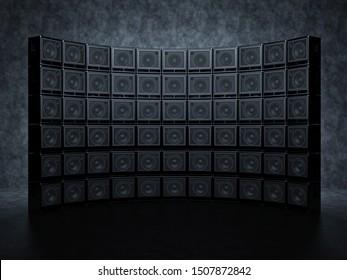 A grandiose scene of guitar amps against a wall. A huge semicircular wall of guitar amps. 3D Render