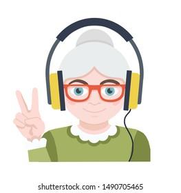 Grandma listens to music. Advanced user flat icon