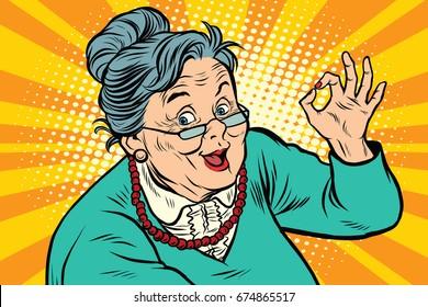 Grandma okay gesture, the elderly. Pop art retro  illustration