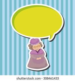 grandmom in little red riding hood, cartoon speech icon