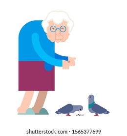 Grandmother feeds pigeons. Grandma and dove Good Old lady and birds.
