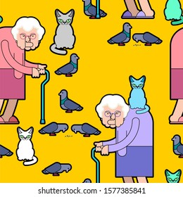 Grandmother feeds pigeons pattern. Grandma and cat background. Good Old lady and dove texture.