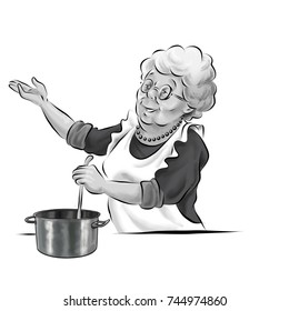 grandmother in the kitchen with spoon pot preparing soup