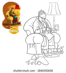 Grandmother sitting in armchair and knitting cartoon children coloring page. I have editable vector versions (coloring book and colored) of this illustration. Please see information to my profile