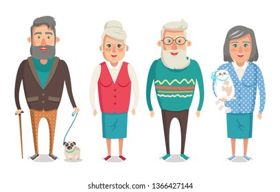 Grandparents collection granny holding kitty granddad with stick walking dog grandma and grandpa standing calmly isolated on raster illustration