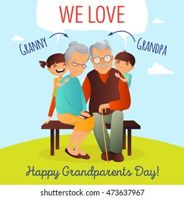 Grandparents Day concept. Illustration with happy family. Grandfather, grandmother and grandchildren. Cute old couple greeting card.
