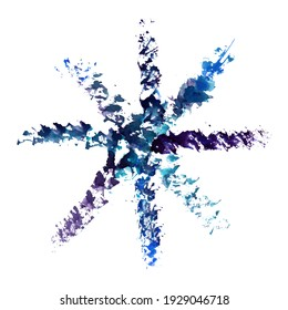 Grange watercolor snowflake isolated on white background. Symbol of winter. Merry christmas and happy new year design. Abstract decor for poster, greeting, postcard, invitation.
