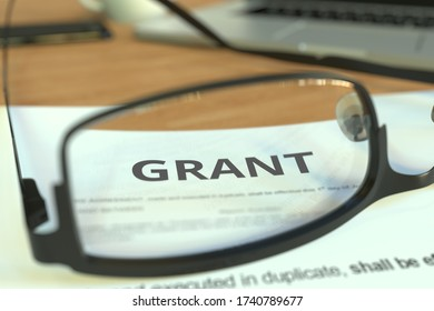 Grant document behind glasses on a desk, 3D rendering