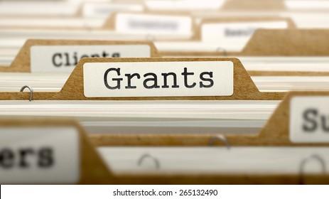 Grants  - Word on Folder Register of Card Index. Selective Focus. Catalog Concept.