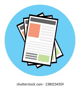 The grapgic of newspaper icon in the light blue circle with the white background , isolated style.