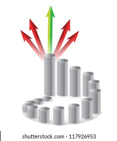 graph and arrows illustration design over white