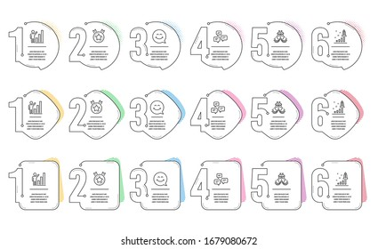 Graph chart, Development plan and Ranking star line icons set. Infographic timeline. Ship, Smile face and Chat messages signs. Growth report, Strategy, Winner medal. Shipping watercraft.