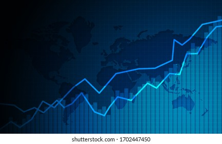 Graph chart of stock market investment trading, 3d rendering