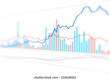 Graph chart of stock market investment with indicator, price cross with indicator and volume trade