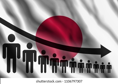 Graph decline of the population on the background of the flag of Japan