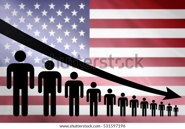 Graph decline of the population on the background of the flag USA United States America
