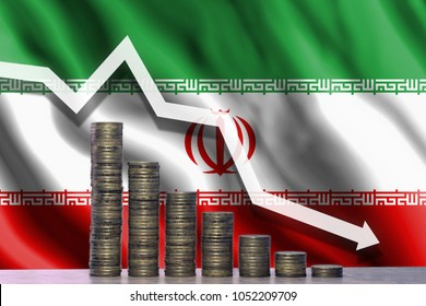 The graph of the fall. White arrow pointing down against the backdrop of coins and the flag of Iran