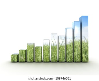 Graph made of green grass and blue sky