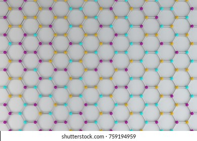 Graphene atomic structure on white background. Hexagonal colored molecular grid. Concept of carbon structure. Crystal lattice. 3D rendering illustration.