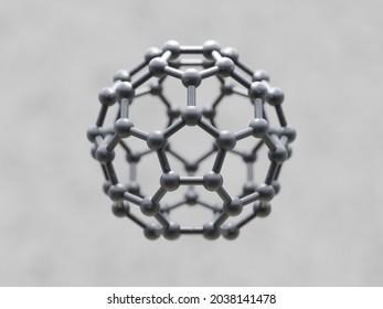 Graphene C60 Buckyball, 3D Illustration.