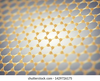 Graphene is composed of carbon atoms distributed in hexagonal pattern, Graphene based nanotechnology, 3d illustration