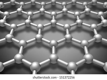 Graphene layered molecule structure schematic model. 3d render illustration