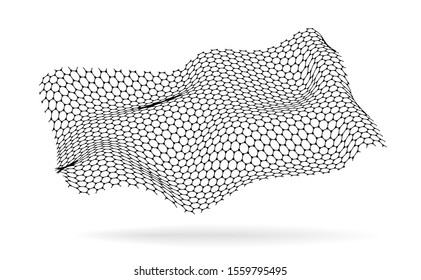 Graphene, a molecular network of hexagons connected together. Chemical network. Carbon, nanomaterials. illustraion