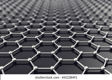 Graphene nanostructure sheet at atomic scale. 3d illustration