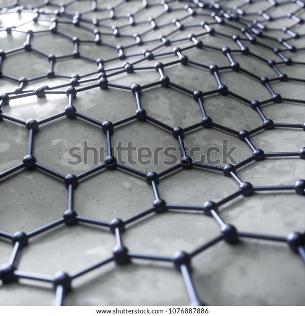 Graphene reinforcement of concrete, abstract art concept. 3d rendering, digital illustration