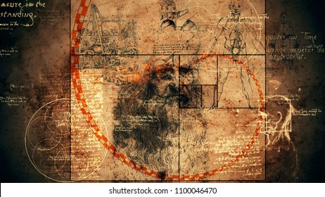 A graphic 3d illustration of code Da Vinci with the portrait of the old Italian genius, a human skull, some sphere with six circles, some texts and a red spiral of golden ratio.