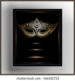Graphic abstract decorative mask (symbol of the carnival in Venice). Suitable for invitation, flyer, sticker, poster, banner, card,label, cover, web.