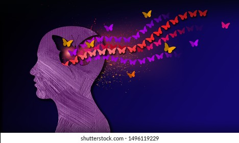 Graphic abstract design of birth of idea or being emotionally set free. Simple, inspirational, dreamlike art with iconic butterflies, butterfly shape and head profile.