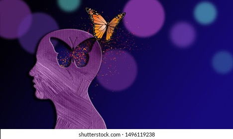 Graphic abstract design of birth of idea or being emotionally set free. Simple, dramatic, dreamlike art with iconic butterfly, and head profile.