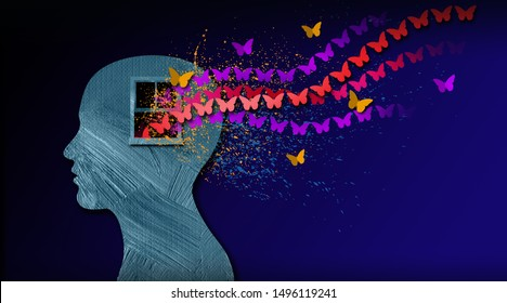 Graphic abstract design of birth of idea or being emotionally set free. Simple, dramatic, dreamlike art with stream of iconic butterflies, open window and head profile.