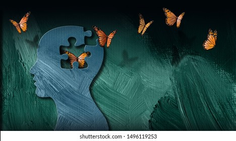 Graphic abstract design of the birth of an idea or of being emotionally set free. Simple, dramatic, dreamlike art with iconic butterflies, puzzle shape and head profile.