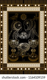 Graphic abstract design with occult tarot card. Minor Arcana - Two of Cups . Suitable for invitation, flyer, sticker, poster, banner, card, label, cover, web.