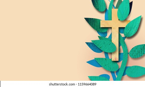 Graphic abstract illustration of the Bible verse 'I am the Vine,' with the Christian cross of Jesus Christ. Christian themed metaphor art. Possible header or greeting note card design.