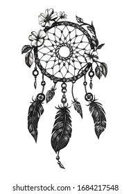 Graphic black and white illustration dreamcatcher with feathers and flowers.