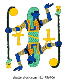 Graphic cartoon illustration icon of Hapi, the god responsible for the flooding of the nile in ancient Egypt