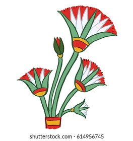Graphic cartoon illustration icon of Papyrus plans or flowers, based on designs from ancient Egyptian papyrus