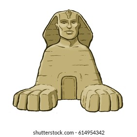 Graphic cartoon illustration icon of the Sphinx at Giza in Egypt