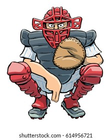Graphic cartoon illustration of a male baseball catcher, with full equipment and making a hand-signal